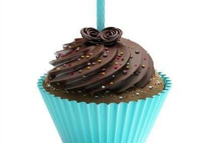 Frosted Cupcake with Candle